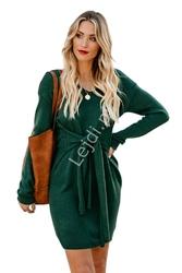 Butelkowo zielona sukienka swetrowa z wiązaniem ozdobnym 049