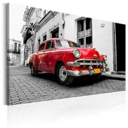 Obraz - klasyczne kubańskie auto czerwony