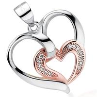 Anais srebrny wisiorek z cyrkoniami serce różowe złoto