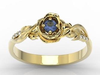 Pierścionek z żółtego złota w kształcie róży z szafirem i diamentami lp-7715z
