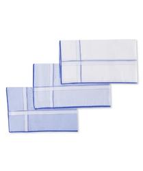 Eleganckie chusteczki męskie bawełniane błękitne 3szt