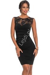 Czarna elegancka obcisła sukienka z koronką 926