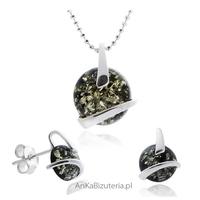 Komplet biżuterii srebrnej z bursztynem zielonym