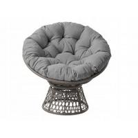 Fotel ogrodowy obrotowy nelmon  z technorattanu z poduszką szary