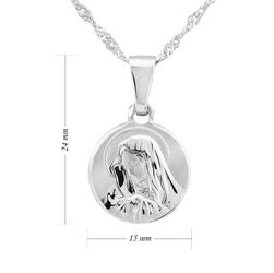 Srebrny medalik z matką boską próba 925 dedykacja - różowy dziewczynka