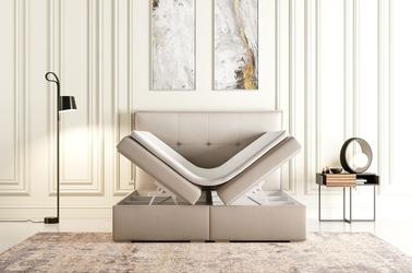 Eleganckie tapicerowane łóżko kontynentalne do sypialni edward z pojemnikiem na pościel