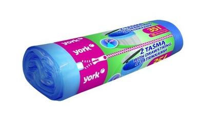 York, worki na śmieci z taśmą 35l15szt nieb