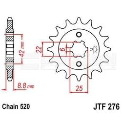 Zębatka przednia jt f276-16, 16z, rozmiar 520 2200240 honda cb 400