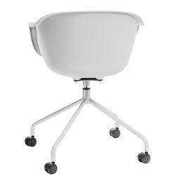 Krzesło na kółkach roundy białe - biały