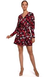 Kopertowa sukienka z bufiastym rękawem we wzory - model 1
