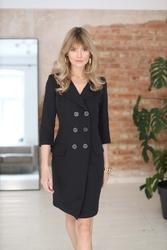 Sukienka żakietowa z rękawem 34 - czarna