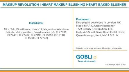 Makeup revolution i heart makeup blushing heart, wypiekany róż 10g