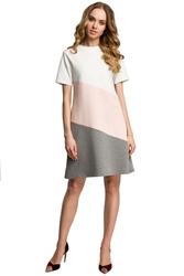 Biało brzoskwiniowo szara dziewczęca trapezowa sukienka z przodem w pasy