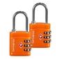 Dwie pomarańczowe kłódki zabezpieczające na szyfr z systemem tsa - orange