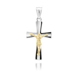 Srebrny krzyżyk z pozłacanym jezusem pr. 925 grawer