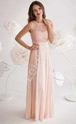Sukienka dla druhny z gipiurową koronką na biuście  jasno różowa, 1275