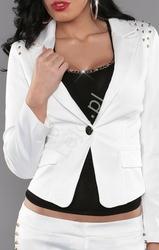 Biała marynarka damska z jetami | biały żakiet v922