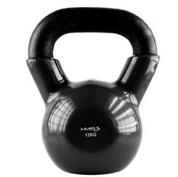 Hantla winylowa żeliwna kettlebell czarna 12 kg - hms - 12 kg  czarny