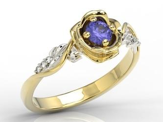 Pierścionek złoty w kształcie róży z tanzanitem i brylantami lp-7730zb - żółte i białe  tanzanit