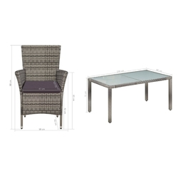 Komplet ogrodowy stół + 6 krzeseł kolia polirattan szary