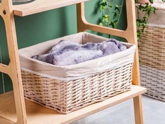 Koszyk wiklinowy do przechowywania  łazienkowy altom design białe wzory