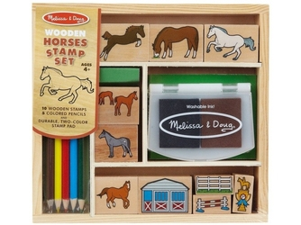 Konie drewniane stempelki z tuszem
