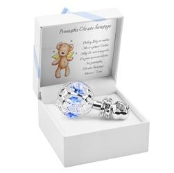 Srebrna grzechotka niebieskie kryształy swarovski prezent z dedykacją - srebrna z niebieskimi kryształami
