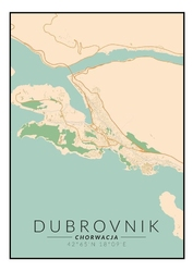Dubrownik mapa kolorowa - plakat wymiar do wyboru: 50x70 cm