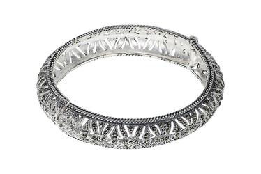 Oksydowana srebrna bransoletka z markazytami