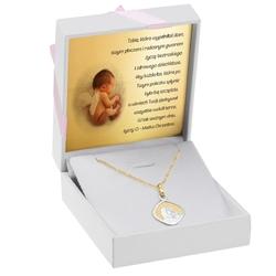 Złoty medalik z matką boską z łańcuszkiem pr. 585 na chrzest komunię dedykacja