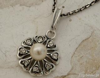 Empire - srebrny wisiorek z perłą i kryształkami svarovskiego