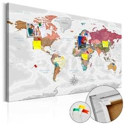 Obraz na korku - podróże przez świat mapa korkowa