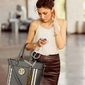 Szara duża torebka damska z ekoskórki z ażurowym wzorem