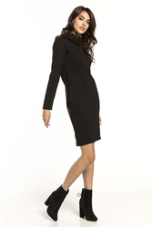 Czarna krótka bawełniana sukienka z kominem
