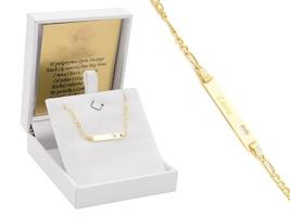 Złota bransoletka serce pr. 585 prezent dla dziecka grawer niebieska kokardka - białe z niebieską kokardką