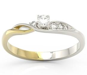 Pierścionek z białego i żółtego złota z brylantami bp-7810bz - białe i różowe  diament