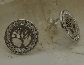 Kryształowe drzewo - srebrne kolczyki z kryształem