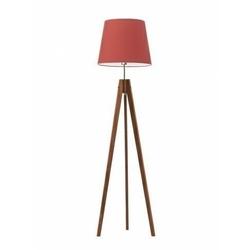 Lampa podłogowa z abażurem aruba abażur czerwony stelaż mahoniowy - czerwony