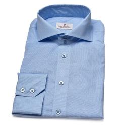 Elegancka błękitna koszula van thorn w delikatny biały wzór 44