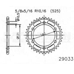 Zębatka tylna stalowa jt 50-29033-45, 45z, rozmiar 525 2302097 moto morini 9,5 1200