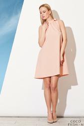 Różowa Trapezowa Sukienka z Wiązaną Kokardą na Szyi