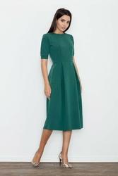 Zielona sukienka midi z krótkim rękawem