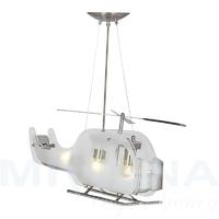 Novelty lampa wisząca 3 stal szkło helikopter