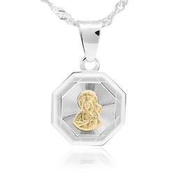 Srebrny medalik matka boska częstochowska pozłacana pr. 925 grawer - białe z niebieską kokardką