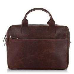 Skórzana torba męska na ramię, laptop brodrene bl12 ciemny brąz - c. brązowy