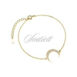 Srebrna pr.925 bransoletka pozłacana - półksiężyc z cyrkoniami - żółte złoto