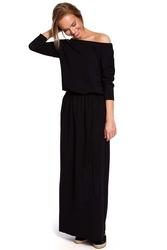 Czarna zbluzowana maxi sukienka z paskiem