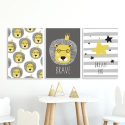Zestaw plakatów dziecięcych - brave lion , wymiary - 60cm x 90cm 3 sztuki, kolor ramki - biały