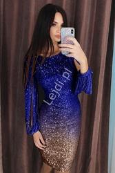 Cekinowa sukienka ombre złoty chaber  528
