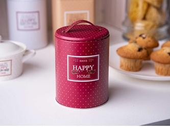 Puszka  pojemnik na kawę  herbatę  cukier  produkty sypkie z pokrywą i uchwytem okrągła altom design victoria home bordowa